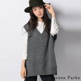 ❖ Autumn ❖ 【SET ITEM】簡約長T恤和V領針織背心 - Green Parks