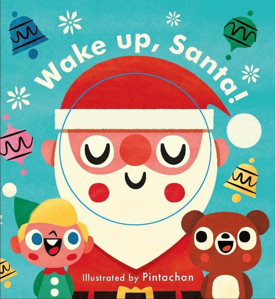【麥克書店】LITTLE FACE WAKE UP, SANTA!/硬頁操作書《表情遊戲書》