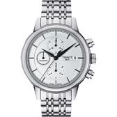 TISSOT 天梭 Carson 經典三眼計時機械手錶-銀/42mm T0854271101100