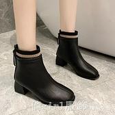 短靴 網紅瘦瘦靴粗跟馬丁靴2020秋冬季新款加絨方頭小短靴冬季百搭女鞋 開春特惠
