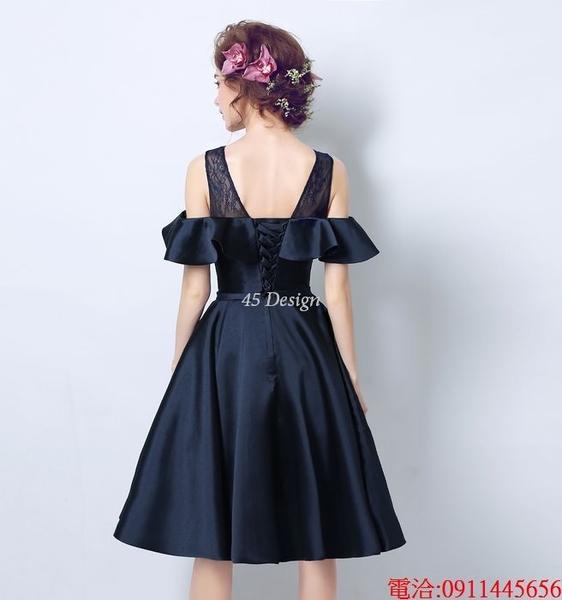 (45 Design)  7天到貨 新客製化顏色大尺碼訂做服15 婚紗禮服伴娘晚會主持人中長版蕾洋裝