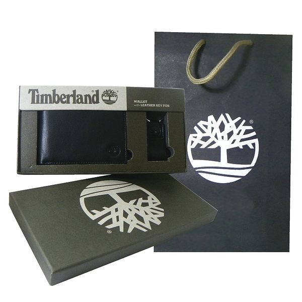 Timberland 黑色男性短夾 + 鑰匙圈、精美禮盒組 附原廠紙袋