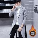風衣男 中長款修身韓版潮流2020新款毛呢大衣男士冬季加厚呢子外套【快速出貨】