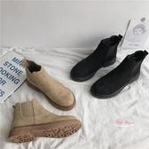 瘦瘦靴 2019年新款秋季英倫風馬丁ins潮鞋瘦瘦切爾西加絨百搭短靴女冬季35-40碼 2色