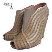 【巴黎站二手名牌專賣店】*現貨*GIVENCHY 紀梵希 真品* 摩卡淺棕色楔型粗跟踝靴(37號)