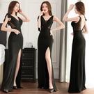 透視禮服 洋裝 公關女裝新款網紗透視性感...