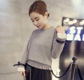 【GZ82】秋裝新款韓版毛衣女 修身套頭百搭顯瘦花邊針織衫 短款寬鬆上衣