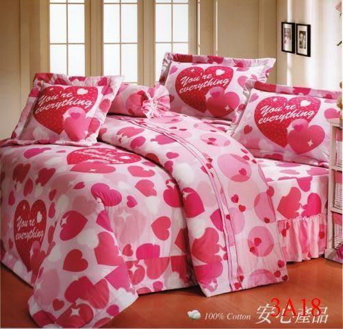 單品-床包 (不含被套)-愛心(粉)、100%精梳棉【雙人加大床包6X6.2尺/枕套】