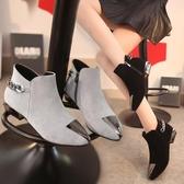 女靴子秋冬季新款尖頭鞋鐵頭磨砂短靴粗跟馬丁靴低跟切爾西靴