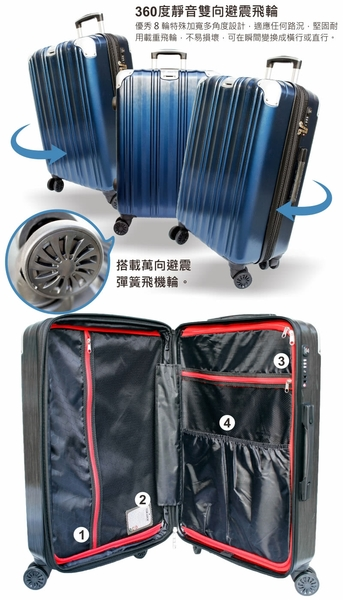 【YC Eason】維也納19吋海關鎖款PC硬殼行李箱(黑灰)