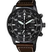 CITIZEN 星辰 光動能飛行家計時手錶-黑x咖啡/44mm CA0695-17E