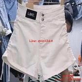 高彈力牛仔短褲女薄款高腰抽繩設計感闊腿褲a字熱褲【CH伊諾】