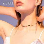 脖子飾品項鍊鎖骨鏈短款簡約頸脖鏈歐美choker項圈女頸帶 『爆米花』