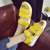 厚底涼鞋 糖果色羅馬涼鞋女夏季運動厚底魔術貼沙灘鞋學生  瑪麗蘇