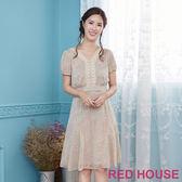 Red House 蕾赫斯-櫻花蕾絲V領洋裝(卡其)
