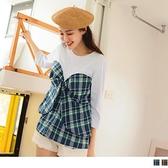 《AB14726-》高含棉假兩件格紋蝴蝶結短袖上衣 OB嚴選