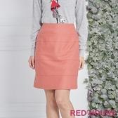 【RED HOUSE 蕾赫斯】羊毛混紡剪接窄裙(粉色) 滿1111折211