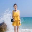洋裝秋季新款簡約修身小清新沙灘吊帶短裙背心蛋糕裙露肩荷葉邊連身裙 快速出貨