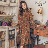 東京著衣【YOCO】甜美復古荷葉立領綁帶喇叭袖碎花洋裝-S.M.L(172882)