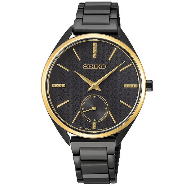 【台南 時代鐘錶 SEIKO】精工 50週年簡約紋飾時尚腕錶 SRKZ49P1@6G28-00Z0K 黑 35mm