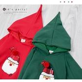 純棉 可愛立體毛球聖誕公公帽T 紅球 別針可拆 保暖 男童上衣 女童上衣 厚 兒童長袖 冬童裝