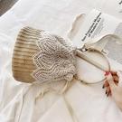 ins文藝草編包包女夏季新款編織蕾絲水桶包手提女包斜背小包 麗人印象 全館免運