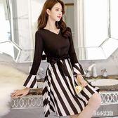 中大尺碼長袖OL洋裝 女裝通勤職業連身裙休閒韓版辦公室衣服 nm17176【甜心小妮童裝】