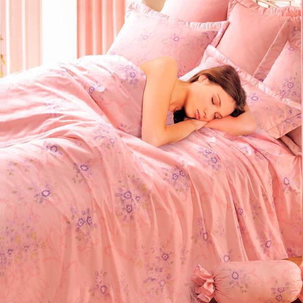 台灣製-粉紅花語 雙人(5x6.2呎)四件式鋪棉涼被床包組-粉紅色[艾莉絲-貝倫]T4HC-3B74-PK-M