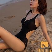 網美連體比基尼溫泉泳衣女性感小胸聚攏韓國遮肚顯瘦露背泳裝【慢客生活】