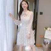 洋裝連身裙甜美S-2XL新款法式襯衣領修身顯瘦蕾絲洋氣打底裙T613-1071.胖胖唯依