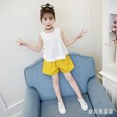 女童童裝 新款韓版中大兒童兩件式夏裝 小女孩無袖上衣短褲套裝 TR448『寶貝兒童裝』