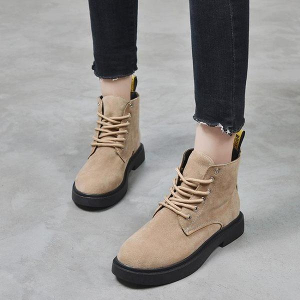 秋季韓版原宿復古百搭短靴百搭網紅同款短筒系帶馬丁靴女 迪澳安娜