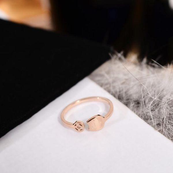 正韓時尚開口招財貓戒指女小指尾戒子潮人鈦鋼鍍玫瑰金尾戒飾品