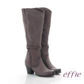 effie 魅力時尚 復古素面拼接抓皺粗跟長靴  灰