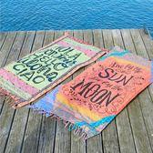 K.J時尚(WUNa07)2016新款4色供選薄人棉帶流蘇長方形沙灘墊沙灘巾披肩