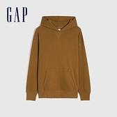Gap男女同款 碳素軟磨系列法式圈織 簡約風連帽休閒上衣 704838-棕色