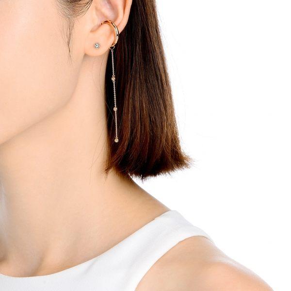 點睛品 Ear Play 18K玫瑰金圓珠垂吊耳飾