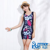 【SUMMERLOVE夏之戀】顯瘦印花連身四角泳衣 大尺碼-E14797