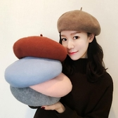 毛帽 貝雷帽女秋冬韓版百搭羊毛帽子畫家帽發夾帽針織南瓜蓓蕾帽