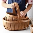 收納籃 日式手工木片編織收納籃提手面包籃...