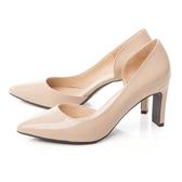 TAS 漆皮側鏤空高跟鞋 膚