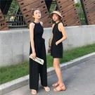春夏新款閨蜜裝高腰小心機露背寬鬆直筒休閒褲連身褲長褲子女 - 風尚3C