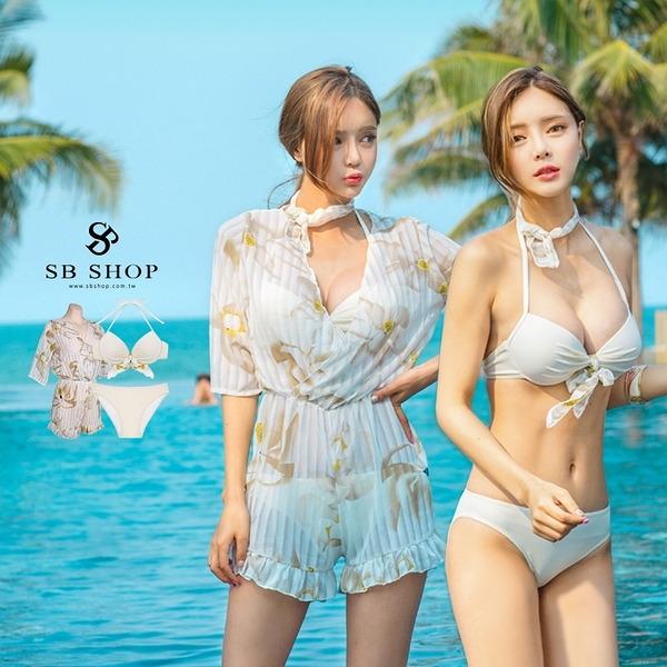 比基尼 泳裝 泳衣【白色戀人花朵比基尼三件組】爆乳 性感 罩衫 連身褲 3b98