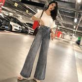 早秋新款韓版寬鬆v領露背短袖T恤 復古直筒高腰闊腿牛仔褲兩件套