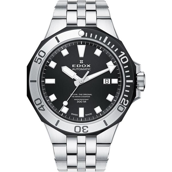 EDOX Delfin 水上冠軍專業300米防水機械錶-黑/43mm E80110.357NM.NIN