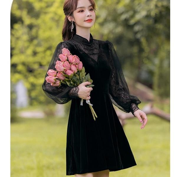 優雅黑色絲絨拼接網紗袖法式浪漫短洋裝[99273-QF]美之札