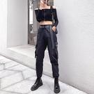 工裝褲 黑色工裝褲子女高腰顯瘦直筒百搭春秋束腳小個子高腰寬鬆bf套裝潮