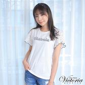 Victoria 袖片異材質拼接LOGO短袖T-女-白色-Y85067
