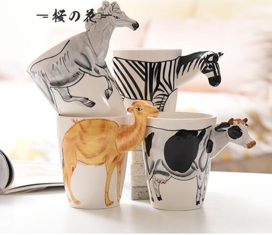 馬克杯3D立體動物陶瓷杯帶蓋勺