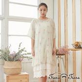 【Tiara Tiara】百貨同步 純棉後背水滴紅鶴薄透款五分袖洋裝 (米)